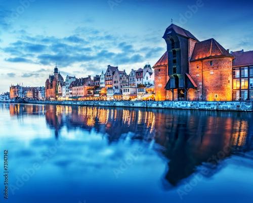 Gdansk, Poland old town, Motlawa river. Famous Zuraw crane