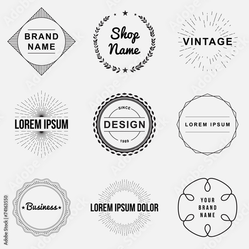 Set of retro vintage badges and label logo graphics, circles