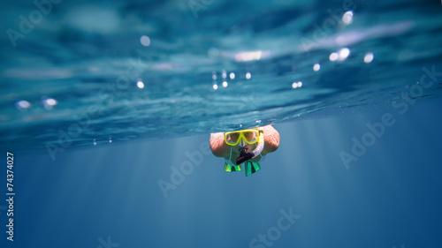Underwater portrait of a woman snorkeling