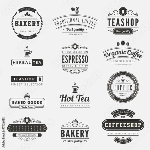 Coffee Retro Vintage Labels Logo design typography