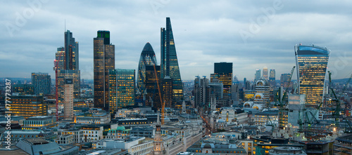 LONDON, UK - JANUARY 27, 2015: City of London night view