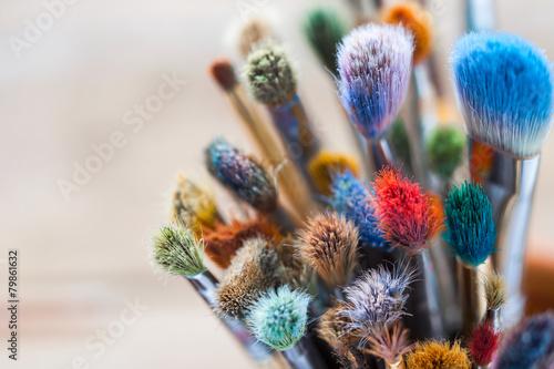 Bunch of artist paintbrushes closeup, selective focus.