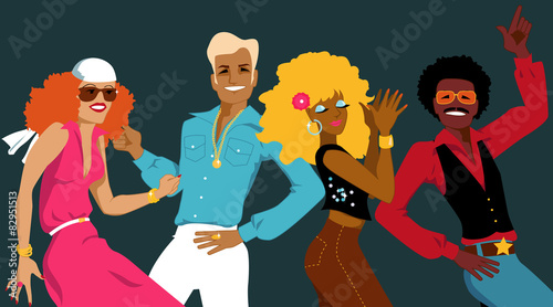 Group of young people dressed in 1970s fashion dancing disco