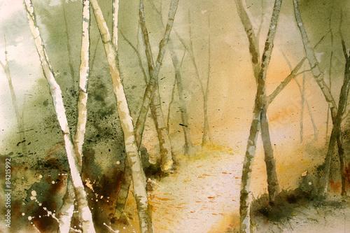 Oryginalna akwarela, leśna ścieżka tło.