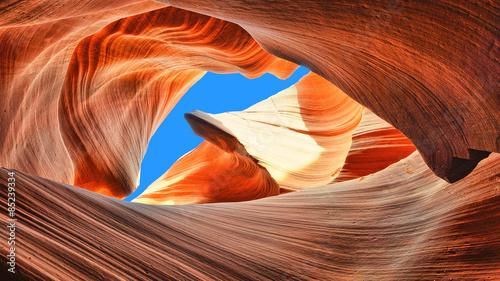 The blue sky over the Antelope Slot Canyon, Arizona