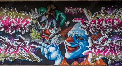 Klaun graffiti w Mainz Kastel
