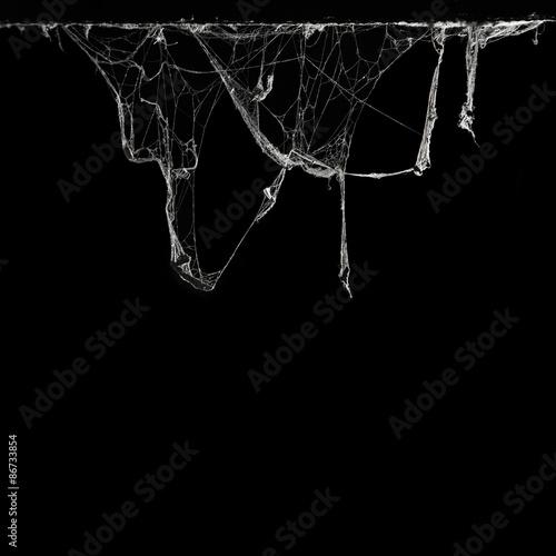 pajęczyna lub pajęczyna w starożytnym tajskim domu na białym tle na czarnym tle i miejsca kopiowania