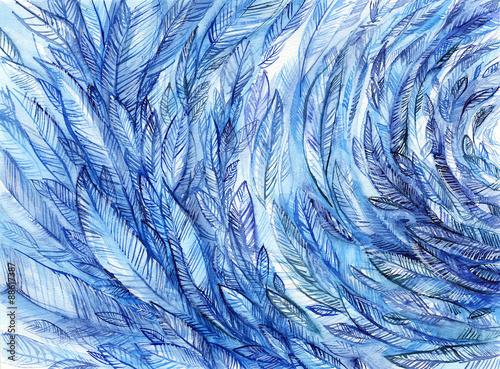 niebieskie pióra w okręgu, akwarela streszczenie tło