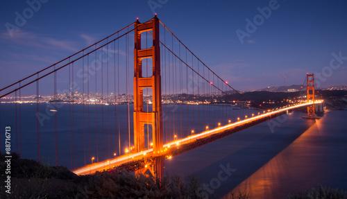 Golden Gate Bridge and San Francisco Skyline. Battery Spencer, Sausalito, California, USA.