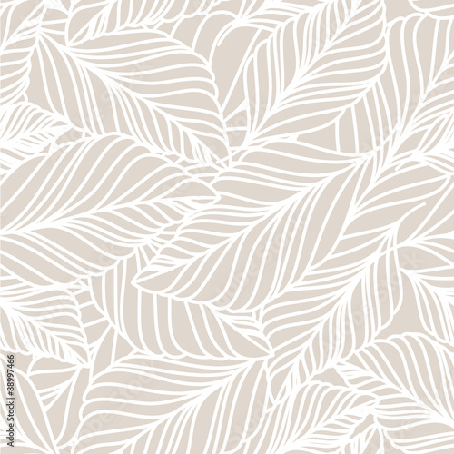 Vector hand drawn doodle leaves seamless pattern. Light pastel b