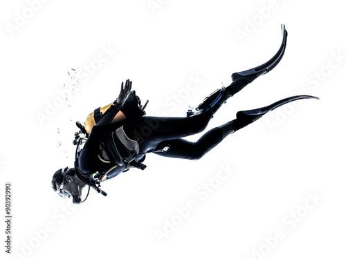 mężczyzna płetwonurek nurkowanie sylwetka na białym tle