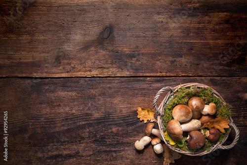 Boletus mushrooms in a basket
