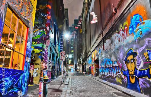 Widok kolorowe graffiti grafika na Hosier Lane w Melbourne