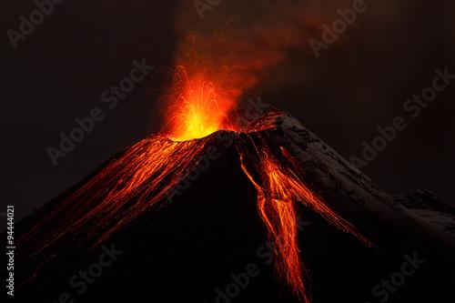 volcano lava volcan erupting fire ecuador small volcanology dark landscape mountains tungurahua volcano exploding in the night of 28 11 2011 ecuador shot with canon eos mark iv converted from raw sma
