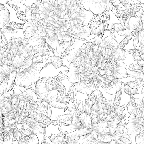 beautiful monochrome black and white seamless background. peonies with leaves and bud.