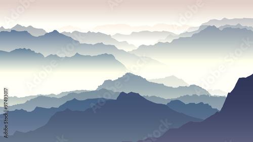 Horyzontalna ilustracja zmierzch w górach.