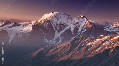 High mountain in morning time. Beautiful natural landscape.