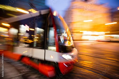 Modern tram in motion blur, Prague city, Europe