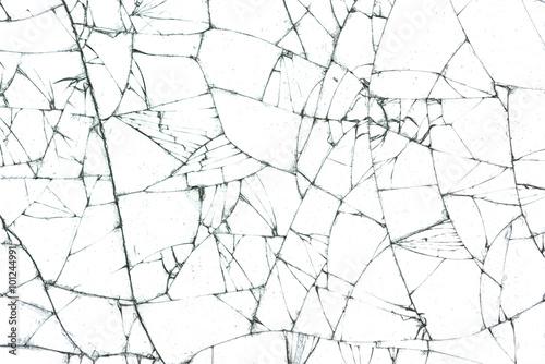 rozbite szkło tekstura na białym tle