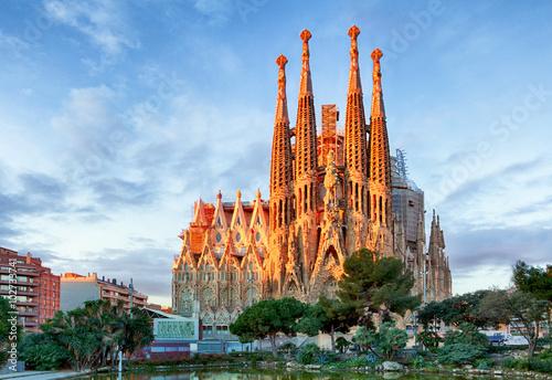 BARCELONA, HISZPANIA - 10 lutego: La Sagrada Familia - wrażenie