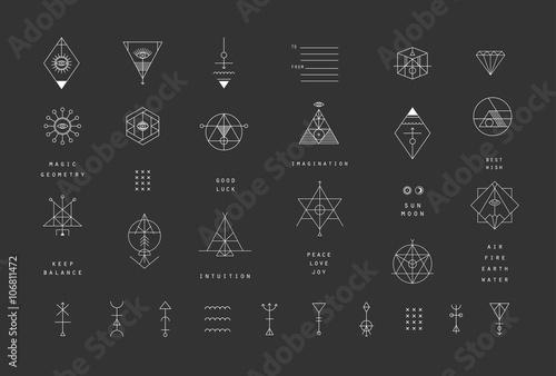 Zestaw ikon modne geometryczne wektor. Kolekcja symboli alchemii