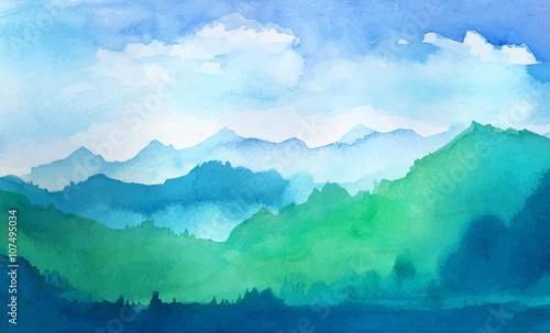 góry akwarela