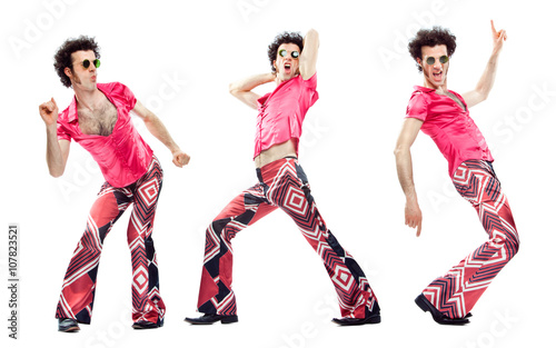 1970s vintage man with pink dress dance composition set isolated on white