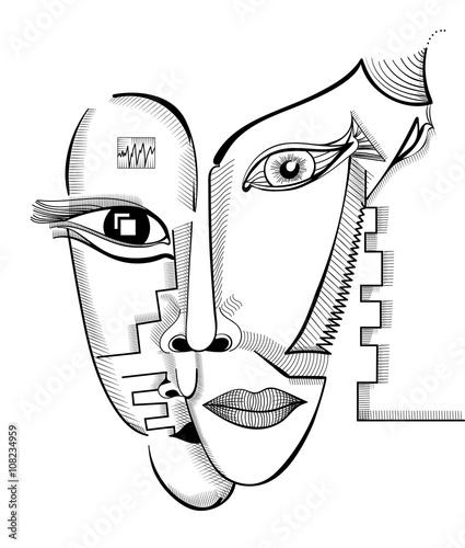Rysunek twarzy w stylu kubizmu. Szablon surrealistyczne streszczenie wektor może służyć do plakatów, naklejek, ilustracji, sztuki koszulki, jako element dekoracyjny.