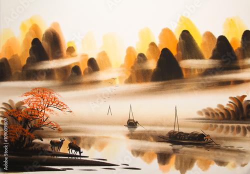 Chiński pejzaż akwarela