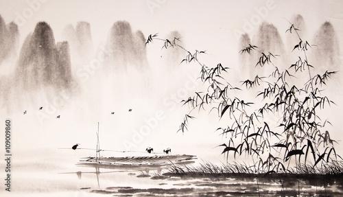 Malarstwo tuszem chiński pejzaż