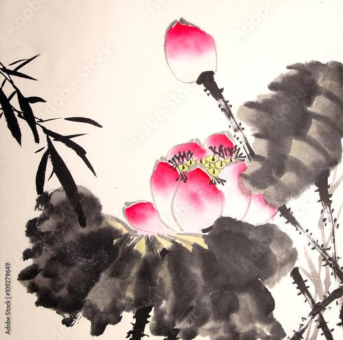 rysowane ręcznie malowanie tuszem lotosu
