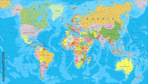 Kolorowa mapa świata - granice, kraje i miasta - ilustracjaBardzo szczegółowe kolorowe wektorowej mapy świata.