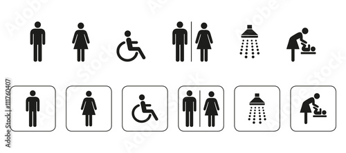 Ikony WC, znaki, ikony, hydraulika, piktogram