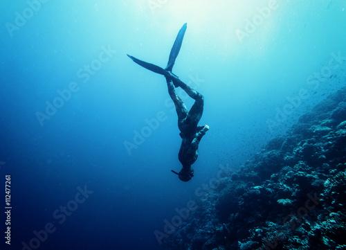 Freediver pływać w morzu