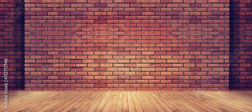 Czerwona ściana z cegieł tekstura i drewniany podłogowy tło