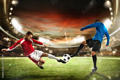 Mecz piłki nożnej na stadionie
