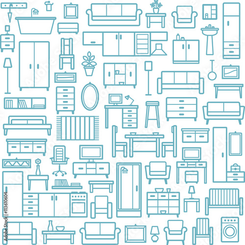 Vector seamless pattern background with home furniture outline icons 6
