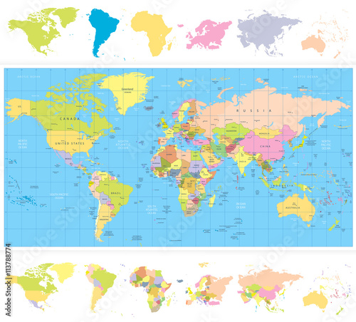 Kolorowa polityczna mapa świata z kontynentami