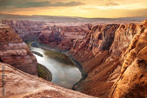 Kolorado rzeki głęboki kanion Horseshoe Bend, południowy zachód