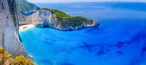 Plaża wraku Zakynthos. Panorama zatoki Navagio bez łodzi i