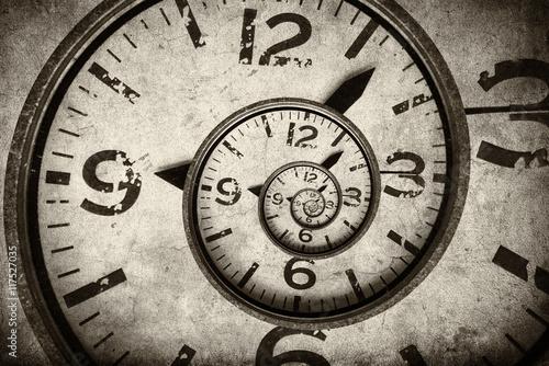Skręcona tarcza zegara. Pojęcie czasu