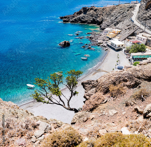 Maridaki beach. A beautiful remote beach in south Crete, Greece. Accessible by car by a long dirt road or by a 45-minutes trekking path from the nearest beach of Tsoutsouros.