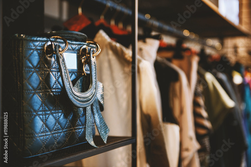 Handbags and clothes in a fashion store