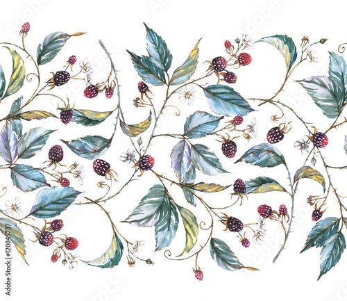 Ręcznie rysowane akwarela bezszwowe ornament z naturalnymi motywami: gałązki jeżyny, liście i jagody. Powtarzająca się dekoracyjna ilustracja, obramowanie z jagodami i liśćmi
