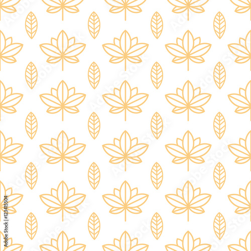 Seamless orange wallpaper with a natural pattern of leaves in a simple, minimalist style. Good for wallpaper, packaging, invitations, background, scrap booking. Vector.