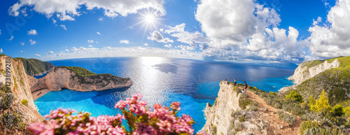 Navagio beach with shipwreck and flowers on Zakynthos island in Greece