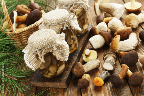 Pickled and fresh mushrooms