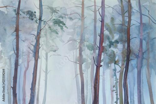 Mglisty las akwarela tło