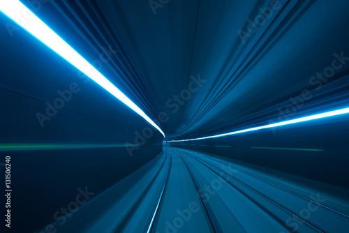 Speed motion blurred underground subway tunnel