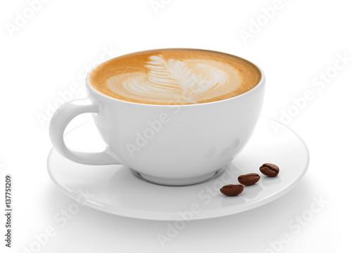 Filiżanki kawy latte i kawowe fasole odizolowywający na białym tle